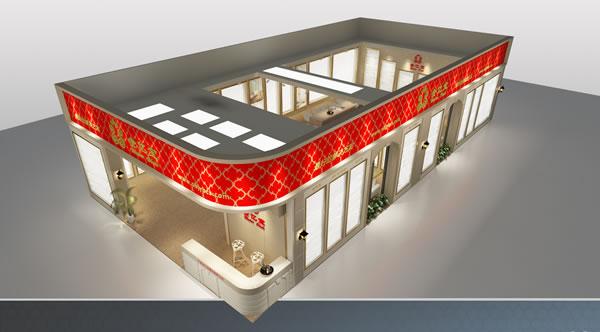"""墙纸展厅设计效果图-金亿宝  展会简介:每年两届的""""中国国际墙纸,布艺"""